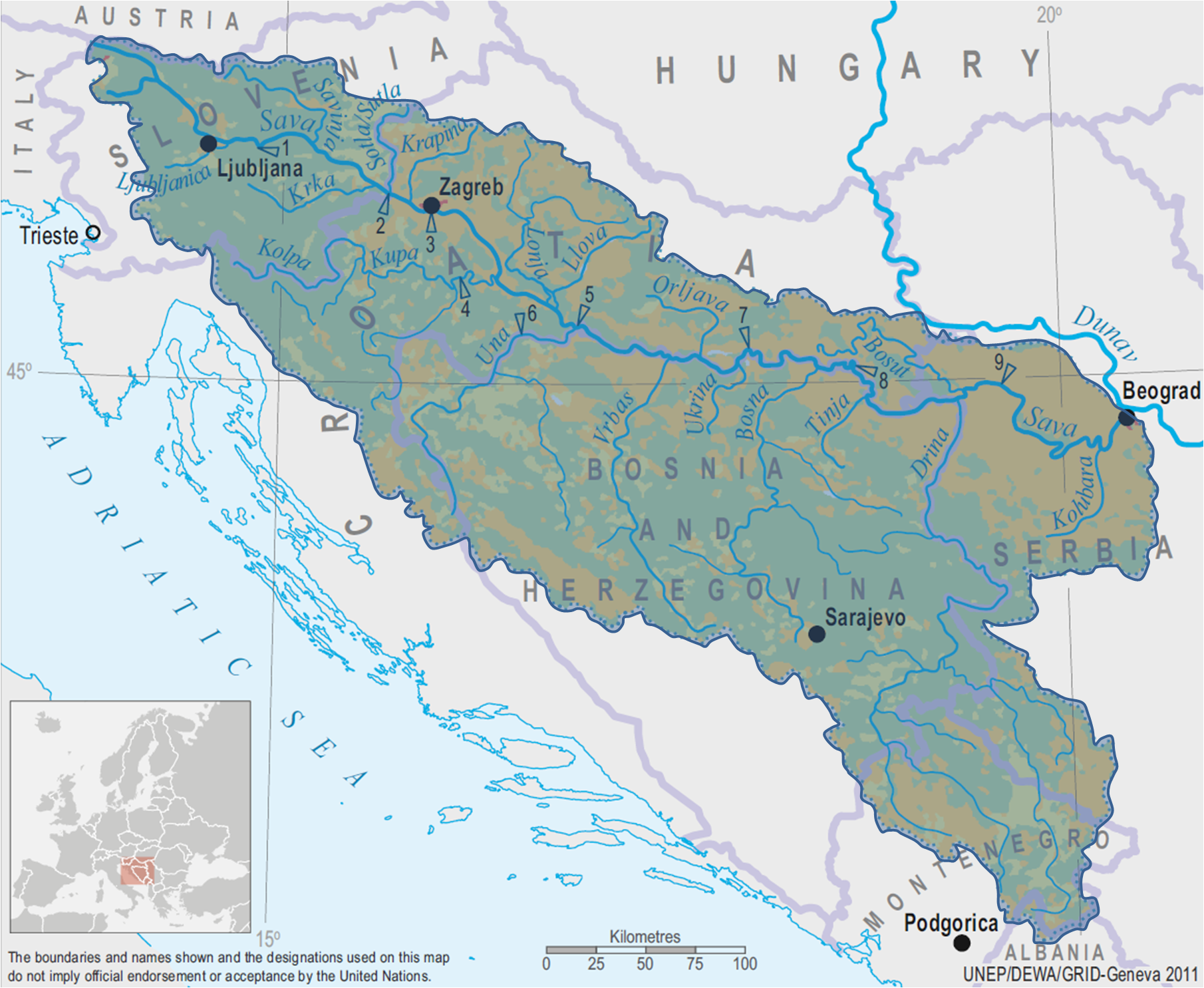 Map Of Europe With Bodies Of Water.Transboundary Surface Water Bodies Twrm Med